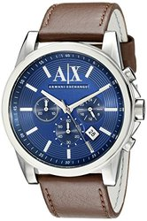A/X Armani Exchange Outer Banks Chronograph Leather Watch
